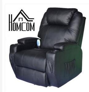 NEW HOMCOM MASSAGE RECLINER CHAIR - 134499911 - LUXURY LEATHER ARMCHAIR BLACK