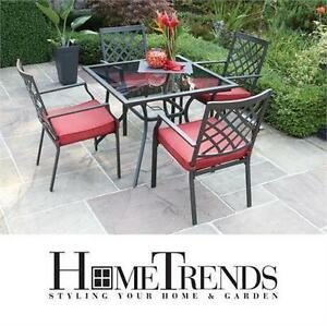 NEW HOMETRENDS MONTCLAIR DINING SET  5 PIECE CUSHIONED DINING SET PATIO FURNITURE  Patio Garden  Patio 77334414