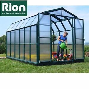 NEW RION 8'x 12' PREMIUM GREENHOUSE   Grand Gardener POLYCARBONATE, DOUBLE DOORS BARN ROOF ALL-SEASON 91357468