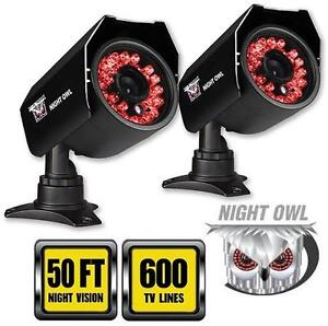 NEW OB NIGHT OWL SECURITY CAM 2PK 2-Pack Hi-Resolution 600 TVL Security Cameras with 50-Feet of Night Vision 105834232