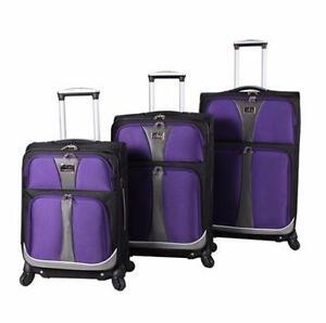 NEW 3PC VERDI BAILO SPINNER LUGGAGE   3 PC LUGGAGE TRAVEL SUITCASE BAG SET - PURPLE gear bag   84578928