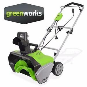 "USED* GREENWORKS 20"" SNOW THROWER SNOW BLOWER - 13 AMP WINTER ICE SNOW  83415628"
