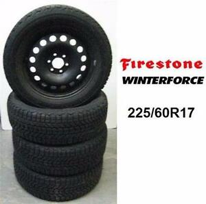 4 USED FIRESTONE WINTERFORCE 225/60R17 SNOW TIRES W/ 3 STEEL RIMS