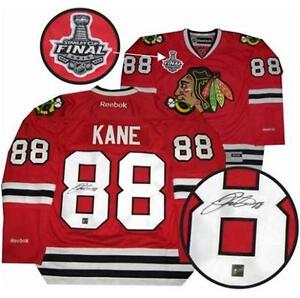 NEW SIGNED PATRICK KANE CHICAGO BLACKHAWKS 2015 STANLEY CUP JERSEY W/ COA