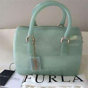 NEW, Genuine Furla Candy Cookie Women's Mini Satchel Handbag in Aqua