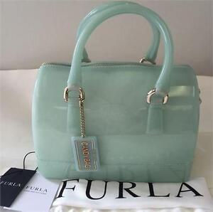 NEW, Genuine Furla Candy Cookie Women's Mini Satchel Handbag in Aqua
