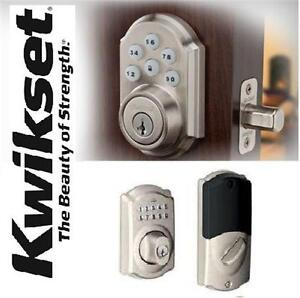 NEW KWIKSET ELECTRONIC DEADBOLT 910 Z-Wave SmartCode - featuring SmartKey in Satin Nickel - Keyless Entry home door lock