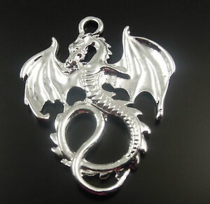24X Antique Style Silver Tone Alloy Dragon Pendants Charms 35*28*2mm