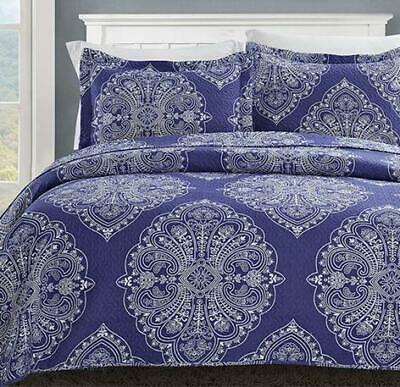 ** Spirit Linen Hotel 5th Ave Sicily Royal Navy 3-Piece Quil