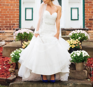 Allure Romance Strapless Wedding Dress with Veil