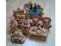 Selection of Teddy Bear Ornaments and a Teddy Bear Music Box