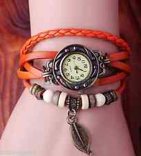 VINTAGE RETRO BEADED BRACELET LEATHER WOMEN WRIST WATCH - LEAF ORANGE