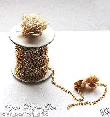 30 feet Crystal Rhinestone Gold Chain Wedding Cake Band Ribbon 4.3mm SS18 RC021