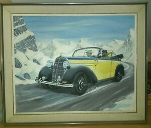 Beautiful PAINTING of Mercedes 170S Cabriolet c1950
