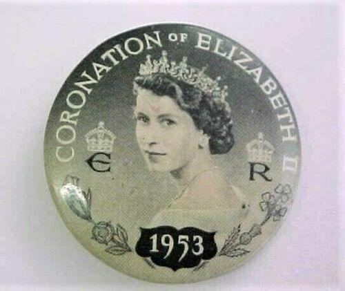 VINTAGE 1953 QUEEN ELIZABETH II CORONATION CELLULOID PIN PINBACK