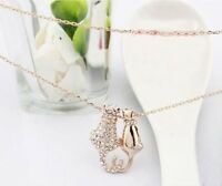 "Cat Love CZ Pendant Necklace 9K Yellow Gold filled 18"" chain"