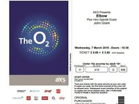 4 x Elbow (and John Grant) tickets for sale, The O2 London, Wednesday 7 March