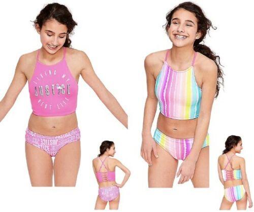 NWT Justice Girls  Reversible Flamingo Bikini Swimsuit - Many sizes