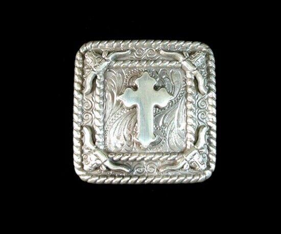 "Western Equestrian Cowboy Decor Antiqued Silver Cross 1 1/4"" Conchos Set of 6"
