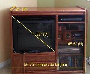 Meuble Palisser 50 pouces (L), x 45 pouces (H) et 21 pouces (P),