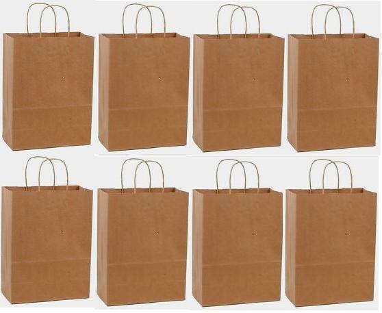 100 10x5x13 Kraft Brown Paper Handle Shopping Gift Merchandi