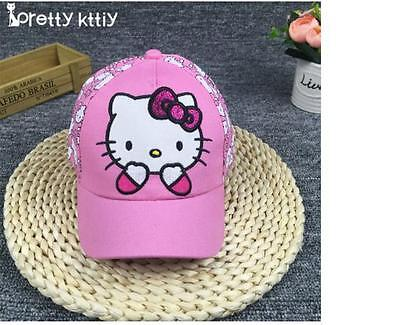 2018 New Hello kitty hat snapback Summer Baseball Cap Kids Baby Girls Adjustable Hello Kitty Baseball
