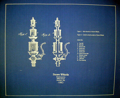 Vintage Brass Steam Whistle 1882 Blueprint Plan Display 20x24 (186)