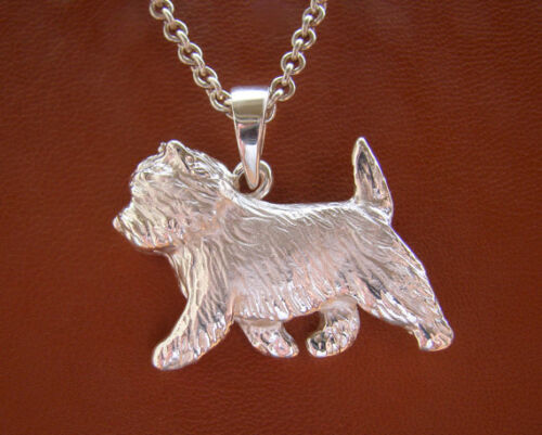 Large Sterling Silver Cairn Terrier Pendant