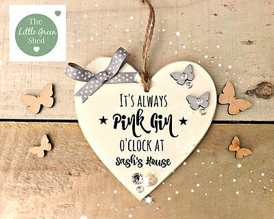 (Pink Gin O'Clock Plaque Friend Heart Housewarming Gift Sign Personalised )