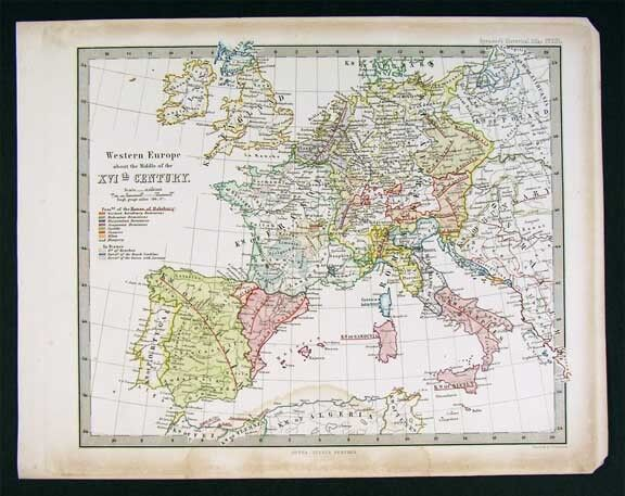 1861 Spruner Map - 16th c.  Europe Spain France Germany
