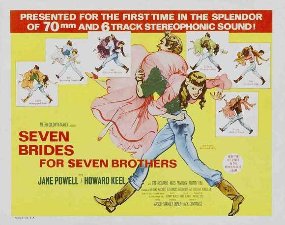 SEVEN BRIDES FOR SEVEN BROTHERS Movie POSTER 22x28 Half Sheet Howard Keel Jane