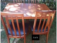 Vintage Teak Extending Dining Table and Chairs