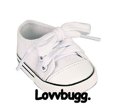 "Lovvbugg  White Tennis Sneakers for 18"" American Girl or Boyor Bitty Baby Doll Shoes"