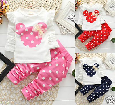 Kids Minnie Mouse Outfit (Newborn Baby Girls Minnie Mouse Outfits Clothes T-shirt Tops Long Pants 2PCS)