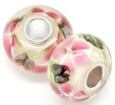 White & Pink Floral Lampwork Glass 14mm Single Core Large 4.5mm Hole Charm Bead