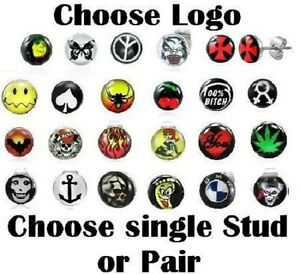 New-Logo-Ear-Stud-Choose-Single-Or-Pair-Mens-Boys-Studs-Earrings-Picture-Cartoon