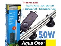 Aqua One Submersible Aquarium Fish Tank Heater,Stainless Steel,Thermostat,50W