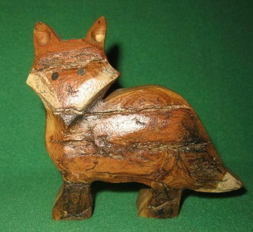 Hand Carved Wood Fox Figurine Jan Gwyer Collectibles made in Iowa