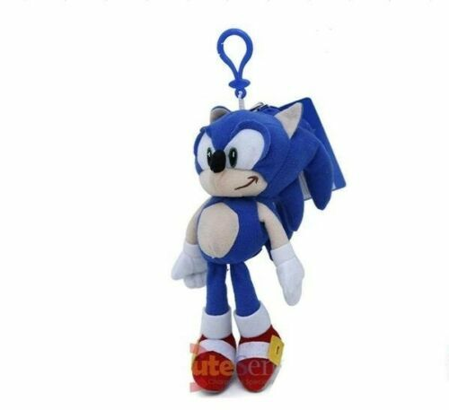 """8"""" Sonic The Hedgehog Soft Plush Doll Key Chain Coin Bag Clip On Licensed NWT"""