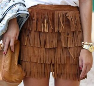 Zara aztec tan brown suede leather fringed skirt bloggers favorite sold out S - <span itemprop='availableAtOrFrom'>Kraków, Polska</span> - Zara aztec tan brown suede leather fringed skirt bloggers favorite sold out S - Kraków, Polska
