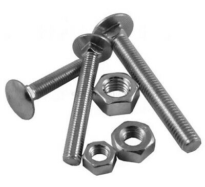 10 x Coach Bolts + Nuts M6 M8 M10  BZP Carriage BS4933 Square Cup Screw Wood