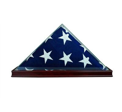 Glass Flag Display Case for 5' x 3' Flag - Glass Wood Free US Shipping - CHERRY
