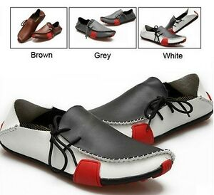 HOT-Mens-Casual-Shoes-Genuine-Leather-Driving-Moccasins-Slip-On-White-Brown-Grey