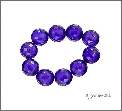 Cubic Zirconia Faceted Round Beads 8mm Purple 8pc - Cubic Zirconia Faceted Round Beads