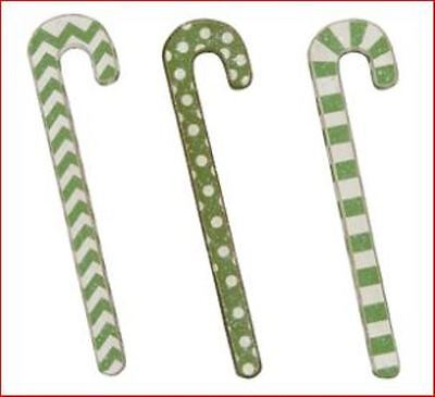 Green Wooden Candy Canes With Glitter - Set Of Three - New! - 22592