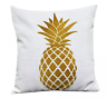 NEW Tropical Pineapple Pillow Cover Hawaiian Linen Beige Goldenrod Square 18X18