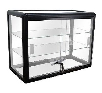 - Black Glass Countertop Display Case Store Fixture Showcase with front lock