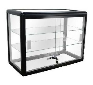 Black Glass Countertop Display Case Store Fixture Showcase with front lock