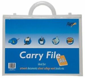Clear A4  Plus (+) Foolscap Art Portfolio Folio Folder Flat Carry Case