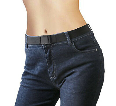 Invisible Waist Belt for Woman Adjustable Elastic Stretch No Bulge Buckle Black Adult Adjustable Elastic Belts